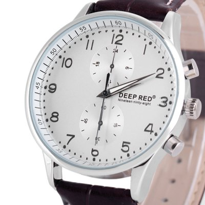 Фотография Deep Red 2114 Male Quartz Watch Round Dial Decorating Small Two Stitches and Leather Watchband