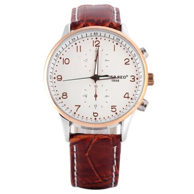 Deep Red 2114 Male Quartz Watch Round Dial Decorating Small Two Stitches and Leather Watchband