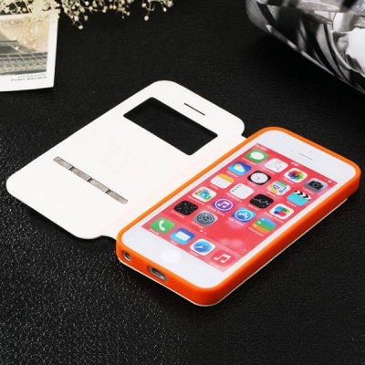 ФОТО USAMS Lange Series Soft TPU and Artificial Leather Material Smart Sensors without Flip Answer Protective Cover Case with View Window for iPhone 5 5S