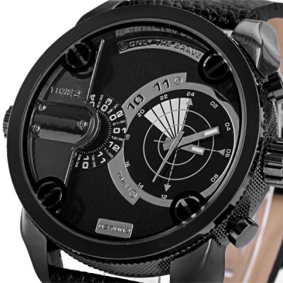 Zeiger 703G 027002 Cool Quartz Male Watch Analog with Multi Time Zones Multi Movtz Leather Watch Band