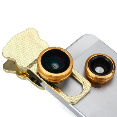 Fashionable 3 in 1 Cat Clip Camera Lens Including Fisheye Macro and Wide Angle for iPhone iPad Samsung and Most of Smart Phone