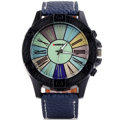 Фотография Shiweibao A3018 Quartz Male Watch Analog with Colourful Round Dial and Roman Numerals Display