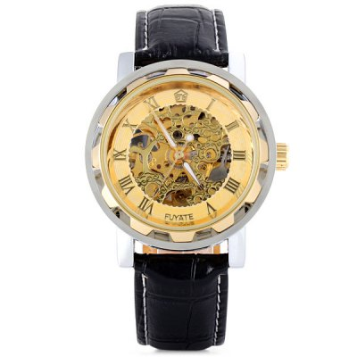 ФОТО Fuyate 433 Male Mechanical Watch Hollow - out and Leather Watch Band