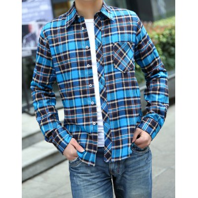 Гаджет   Casual Style Turn-down Collar Colorful Checked Print Long Sleeves Men