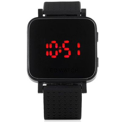 LED Watch with Rectangular Dial and Rubber Watchband
