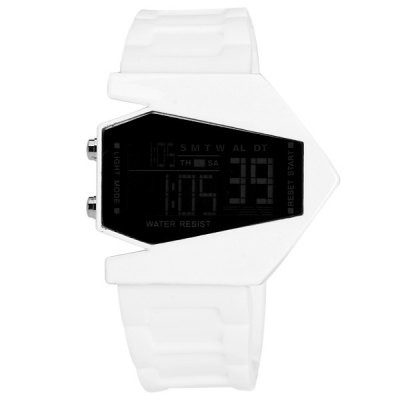 Unique LED Sports Watch with Digital Display Plane Shape  Dial and Rubber Band