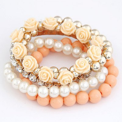 Faux Pearl and Candy Color Flower Decorated Beads Bracelets For Women