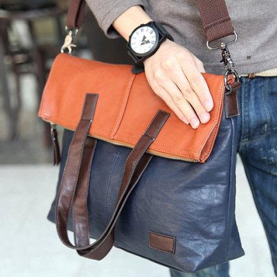Fashionable PU Leather and Color Block Design Mens Messenger BagMens Bags<br>Fashionable PU Leather and Color Block Design Mens Messenger Bag<br><br>Gender: For Men<br>Pattern Type: Patchwork<br>Closure Type: Zipper<br>Main Material: PU<br>Length: 36cm<br>Width: 11cm<br>Height: 43cm<br>Weight: 0.9KG<br>Package Contents: 1 x Messenger Bag