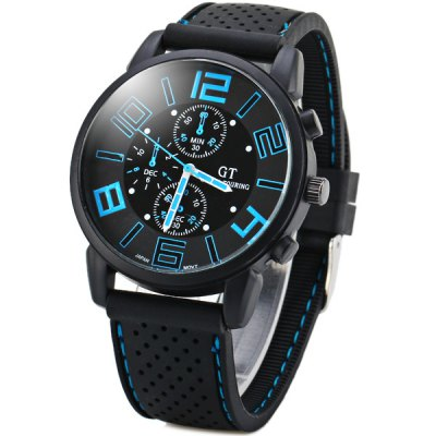 GT Sports Male Military Watch Analog Quartz Wristwatch Silicone Strap Round DialSports Watches<br>GT Sports Male Military Watch Analog Quartz Wristwatch Silicone Strap Round Dial<br><br>People: Unisex table<br>Watch style: Fashion<br>Style elements: Big dial<br>Available color: Blue,Orange,White,Yellow<br>Shape of the dial: Round<br>Movement type: Quartz watch<br>Display type: Analog<br>Case material: Stainless Steel<br>Case color: Black<br>Band material: Silica Gel<br>Clasp type: Pin buckle<br>Special features: Three needle<br>The dial thickness: 1.0 cm / 0.4 inches<br>The dial diameter: 4.3 cm / 1.7 inches<br>The band width: 2.0 cm / 0.8 inches<br>Product weight: 0.055 kg<br>Package weight: 0.580 kg<br>Product size (L x W x H): 25.50 x 4.40 x 0.90 cm / 10.04 x 1.73 x 0.35 inches<br>Package size (L x W x H): 26.50 x 5.30 x 2.00 cm / 10.43 x 2.09 x 0.79 inches<br>Package Contents: 1 x Watch