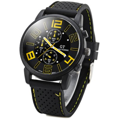 GT Sports Male Military Watch Analog Quartz Wristwatch Silicone Strap Round DialSports Watches<br>GT Sports Male Military Watch Analog Quartz Wristwatch Silicone Strap Round Dial<br><br>People: Unisex table<br>Watch style: Fashion<br>Style elements: Big dial<br>Available color: White,Blue,Orange,Yellow<br>Shape of the dial: Round<br>Movement type: Quartz watch<br>Case material: Stainless Steel<br>Case color: Black<br>Band material: Silica Gel<br>Clasp type: Pin buckle<br>Special features: Three needle<br>The dial thickness: 1.0 cm / 0.4 inches<br>The dial diameter: 4.3 cm / 1.7 inches<br>The band width: 2.0 cm / 0.8 inches<br>Product weight: 0.054 kg<br>Package weight: 0.110 kg<br>Product size (L x W x H): 25.50 x 4.40 x 0.90 cm / 10.04 x 1.73 x 0.35 inches<br>Package size (L x W x H): 26.50 x 5.30 x 2.00 cm / 10.43 x 2.09 x 0.79 inches<br>Package Contents: 1 x Watch