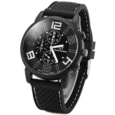 GT Sports Male Military Watch Analog Quartz Wristwatch Silicone Strap Round DialSports Watches<br>GT Sports Male Military Watch Analog Quartz Wristwatch Silicone Strap Round Dial<br><br>People: Unisex table<br>Watch style: Fashion<br>Style elements: Big dial<br>Available color: White,Blue,Orange,Yellow<br>Shape of the dial: Round<br>Movement type: Quartz watch<br>Case material: Stainless Steel<br>Case color: Black<br>Band material: Silica Gel<br>Clasp type: Pin buckle<br>Special features: Three needle<br>The dial thickness: 1.0 cm / 0.4 inches<br>The dial diameter: 4.3 cm / 1.7 inches<br>The band width: 2.0 cm / 0.8 inches<br>Product weight: 0.055 kg<br>Package weight: 0.580 kg<br>Product size (L x W x H): 25.50 x 4.40 x 0.90 cm / 10.04 x 1.73 x 0.35 inches<br>Package size (L x W x H): 26.50 x 5.30 x 2.00 cm / 10.43 x 2.09 x 0.79 inches<br>Package Contents: 1 x Watch