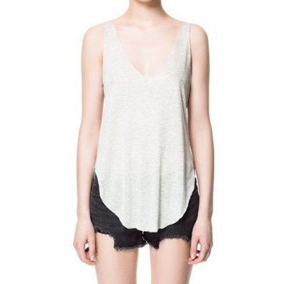 Plunging Neckline Solid Color Tank Top For Women