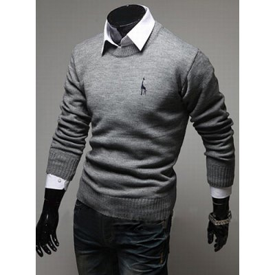 Round Neck Long Sleeves Cotton Blend Sweater
