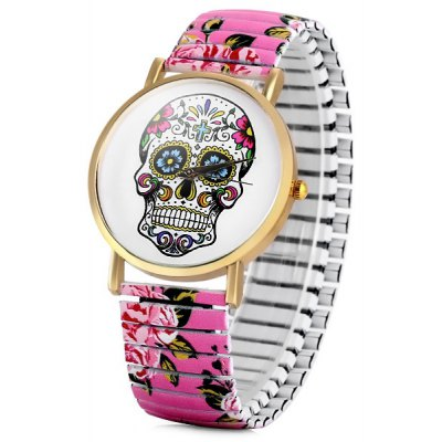Women Quartz Watch Halloween Gift Analog with Skull Pattern Round Dial and Elastic Watch Band