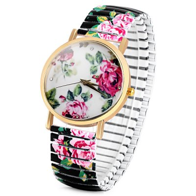 Female Quartz Watch Analog with Peony Round Dial and Elastic Watch Band