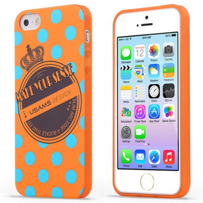 USAMS Crown Series Soft Retro Pattern TPU Material Fluorescent Protective Back Cover Case for iPhone 5 5S