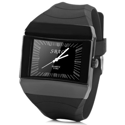 S062 Watch Time Showed by Strips with Squre Dial Rubber Watchband
