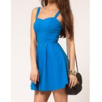 Sexy Sweetheart Neck Solid Color Backless Women's Dress