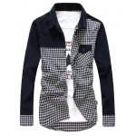 Buy Slimming Trendy Turn-down Collar Stylish Checked Splicing Pocket Embellished Long Sleeves Men's Cotton Blend Shirt 2XL CADETBLUE