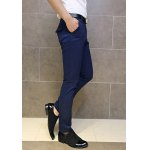 Buy Slimming Trendy Solid Color Zipper Fly Button Embellished Narrow Feet Men's Cotton Blend Pants 31 DEEP BLUE