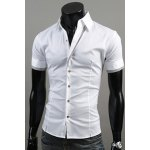 Buy Casual Style Slimming Turn-down Collar Short Sleeves Personality Placket Cuffs Color Block Design Men's Cotton Blend Shirt M WHITE