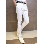 Buy Casual Style Zipper Fly Solid Color Slimming Simple Design Narrow Feet Men's Cotton Pants M WHITE