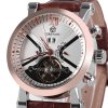 cheap Fashionable Men Mechanical Watch with Analog Round Dial Leather Watchband