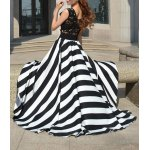 Floor Length Stripe Lace Panel Prom Summer Dress deal