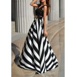 cheap Floor Length Stripe Lace Panel Prom Summer Dress
