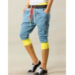Buy Trendy Double Color Block Waist Lace-Up Slimming Personality Pocket Embellished Splicing Narrow Feet Men's Cotton Blend Joker Cropped Pants M AZURE