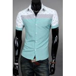 Buy Casual Style Turn-down Collar Dot Print Slimming Color Block Splicing Short Sleeves Men's Polyester Shirt 2XL BLUE