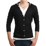 Buy Fashion Style Hooded Slimming Multi-Button Embellished Long Sleeves Men's Cotton Blend Faux Twinset T-Shirt M BLACK
