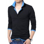 Buy Slimming Trendy Double Turn-down Collar Color Splicing Long Sleeves Plus Size Men's Cotton Blend Polo Shirt L BLUE