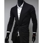 Buy Casual Style Turn-down Collar Personality Button Fly Solid Color Long Sleeves Men's Cotton Blazer M BLACK