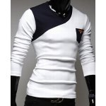 cheap Stylish V-Neck Classic Color Block Splicing Slimming Long Sleeves Men's Cotton Blend T-Shirt