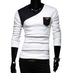 Stylish V-Neck Classic Color Block Splicing Slimming Long Sleeves Men's Cotton Blend T-Shirt