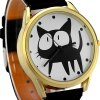 best JUBAOLI 2108 Fashionable Watch Time Showed by 12 Dots with Cat Pattern Circular Dial Artificial Leather Watchband