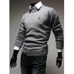 cheap Casual Style Slimming Round Neck Long Sleeves Deerlet Embroidery Design Men's Cotton Blend Sweater