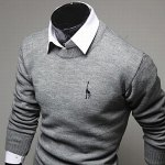 Casual Style Slimming Round Neck Long Sleeves Deerlet Embroidery Design Men's Cotton Blend Sweater deal