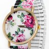 cheap Female Quartz Watch Analog with Peony Round Dial and Elastic Watch Band