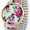 Female Quartz Watch Analog with Peony Round Dial and Elastic Watch Band deal