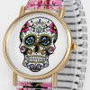cheap Women Quartz Watch Halloween Gift Analog with Skull Pattern Round Dial and Elastic Watch Band