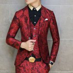 Casual Style Turn-down Collar Personality Print Embellished Long Sleeves Men's Cotton Blazer