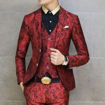 cheap Casual Style Turn-down Collar Personality Print Embellished Long Sleeves Men's Cotton Blazer