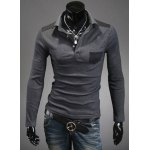 Buy Slimming Trendy Turn-down Collar Color Splicing Pocket Embellished Long Sleeves Men's Cotton Blend Polo T-Shirt M DEEP GRAY