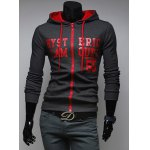 Buy Casual Style Hooded Color Letters Print Long Sleeves Men's Cotton Blend Hoodies L DEEP GRAY