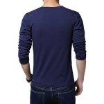 Buy Simple Style V-Neck Solid Color Slimming Long Sleeves Men's Cotton Blend Plus Size T-Shirt XL CADETBLUE