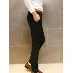 Buy Simple Style Zipper Fly Button Embellished Solid Color Slimming Straight Leg Men's Cotton Blend Pants 2XL BLACK