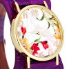 1089  -  4 Fashionable Watch Time Showed by 12 Arabic Numbers with Flower Pattern Round Dial Artificial Leather Watchband deal