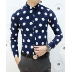 Buy Casual Style Turn-down Collar Color Block Dot Print Slimming Long Sleeves Men's Cotton Blend Shirt L BLUE